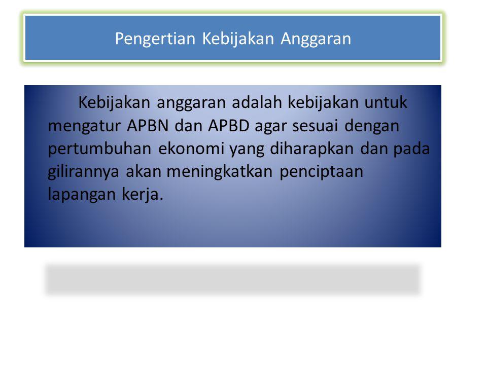 Pengertian Kebijakan Anggaran Kebijakan anggaran adalah kebijakan untuk mengatur APBN dan APBD agar sesuai dengan pertumbuhan ekonomi yang diharapkan