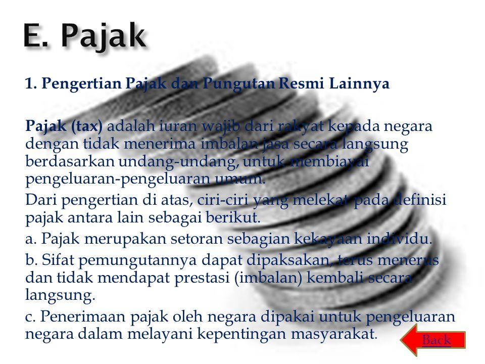 1. Pengertian Pajak dan Pungutan Resmi Lainnya Pajak (tax) adalah iuran wajib dari rakyat kepada negara dengan tidak menerima imbalan jasa secara lang