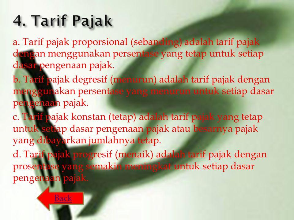 a. Tarif pajak proporsional (sebanding) adalah tarif pajak dengan menggunakan persentase yang tetap untuk setiap dasar pengenaan pajak. b. Tarif pajak