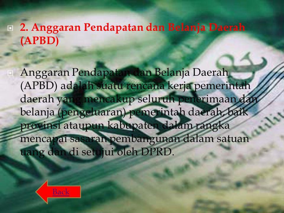  2. Anggaran Pendapatan dan Belanja Daerah (APBD)  Anggaran Pendapatan dan Belanja Daerah (APBD) adalah suatu rencana kerja pemerintah daerah yang m