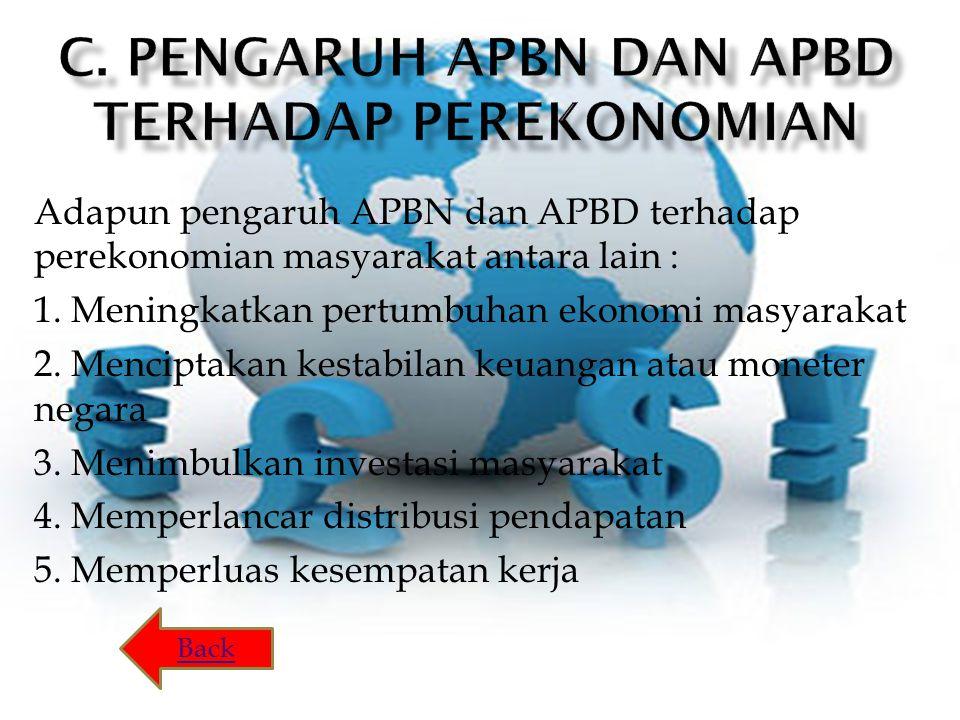 Adapun pengaruh APBN dan APBD terhadap perekonomian masyarakat antara lain : 1.