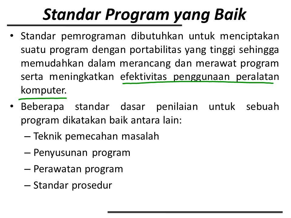 Standar Program yang Baik Standar pemrograman dibutuhkan untuk menciptakan suatu program dengan portabilitas yang tinggi sehingga memudahkan dalam mer