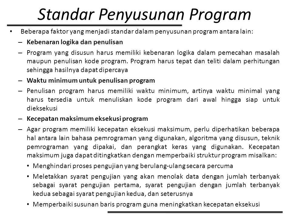Standar Penyusunan Program Beberapa faktor yang menjadi standar dalam penyusunan program antara lain: – Kebenaran logika dan penulisan – Program yang