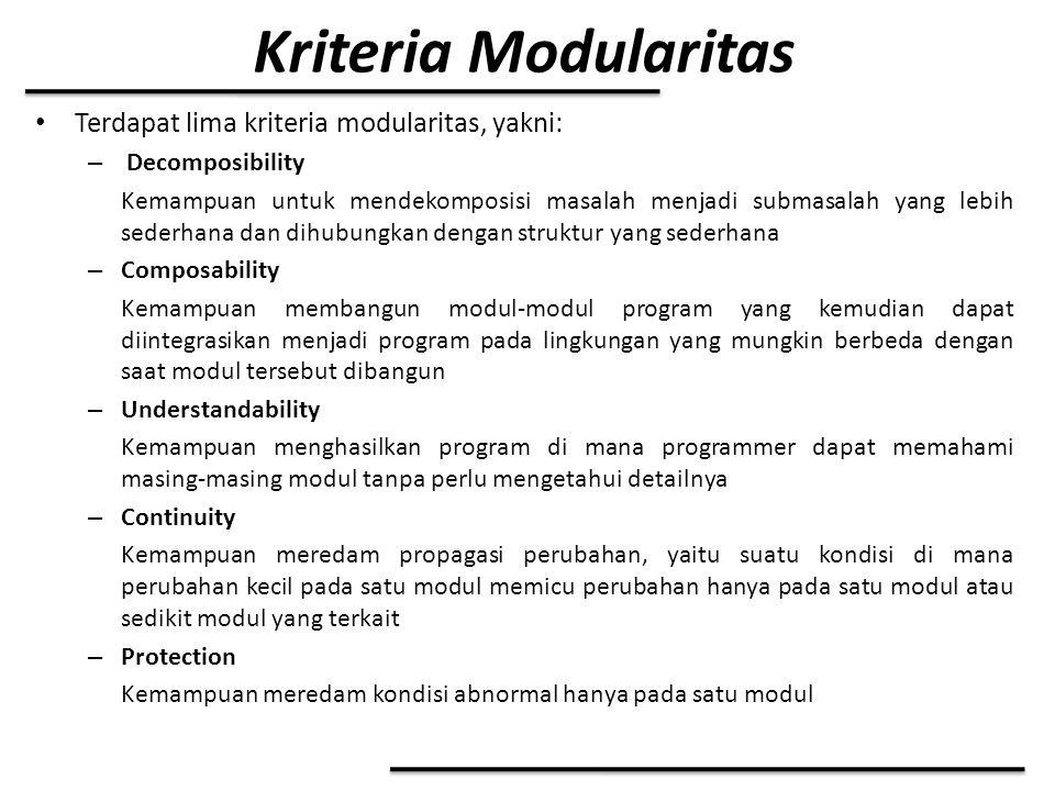 Kriteria Modularitas Terdapat lima kriteria modularitas, yakni: – Decomposibility Kemampuan untuk mendekomposisi masalah menjadi submasalah yang lebih