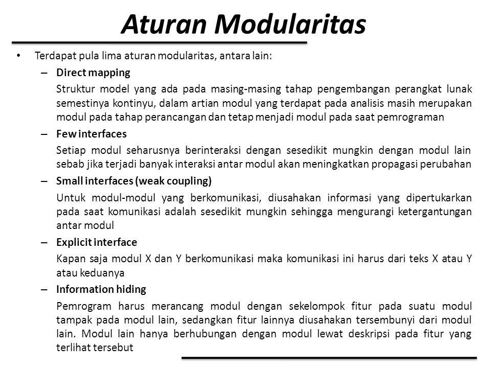 Aturan Modularitas Terdapat pula lima aturan modularitas, antara lain: – Direct mapping Struktur model yang ada pada masing-masing tahap pengembangan