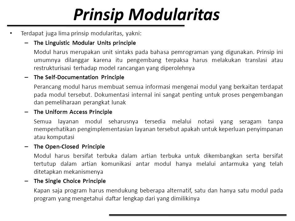 Prinsip Modularitas Terdapat juga lima prinsip modularitas, yakni: – The Linguistic Modular Units principle Modul harus merupakan unit sintaks pada ba