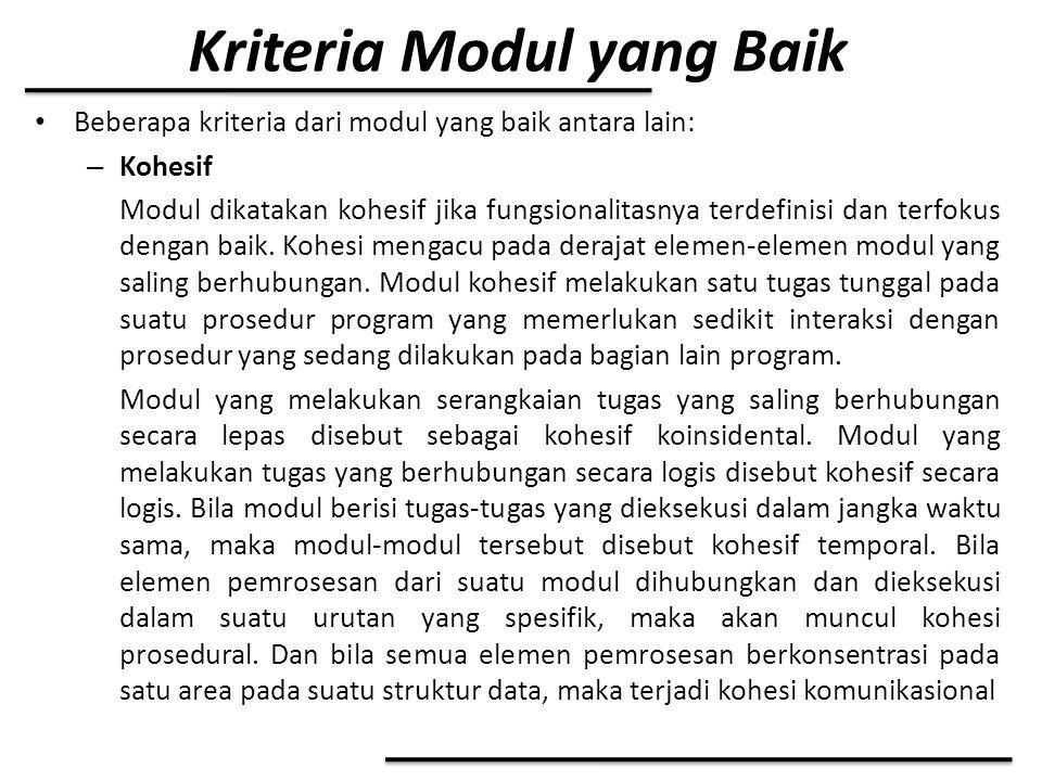 Kriteria Modul yang Baik Beberapa kriteria dari modul yang baik antara lain: – Kohesif Modul dikatakan kohesif jika fungsionalitasnya terdefinisi dan