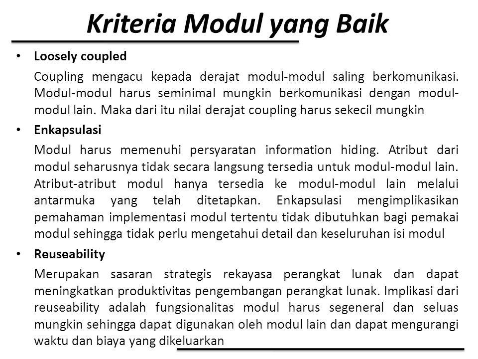 Kriteria Modul yang Baik Loosely coupled Coupling mengacu kepada derajat modul-modul saling berkomunikasi. Modul-modul harus seminimal mungkin berkomu