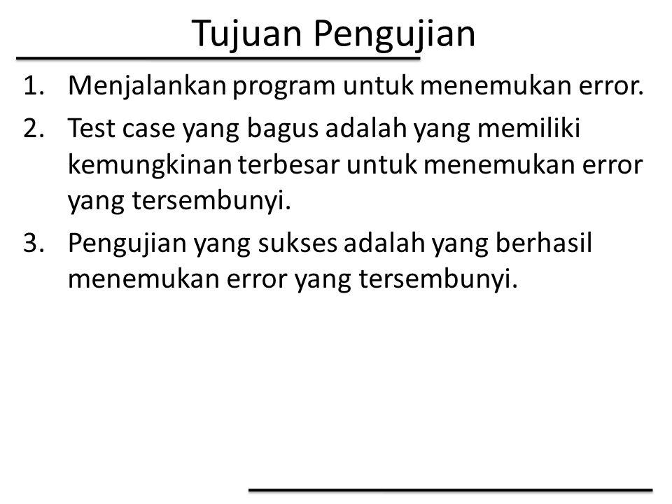 Tujuan Pengujian 1.Menjalankan program untuk menemukan error. 2.Test case yang bagus adalah yang memiliki kemungkinan terbesar untuk menemukan error y