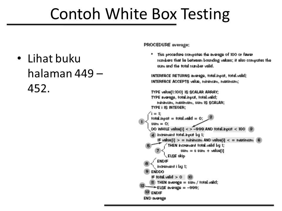 Contoh White Box Testing Lihat buku halaman 449 – 452.