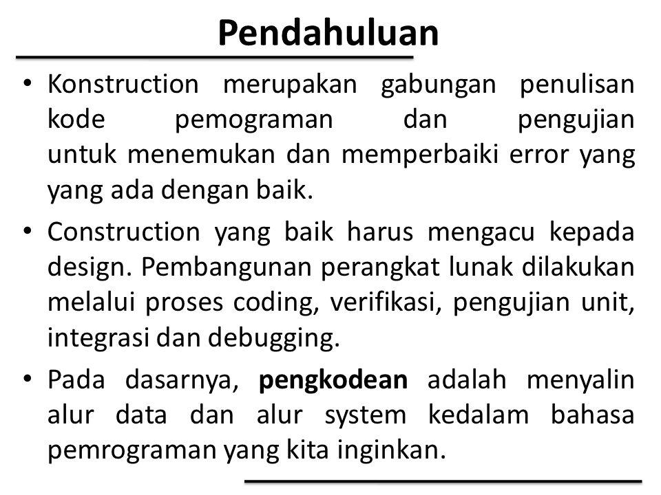 Pendahuluan Konstruction merupakan gabungan penulisan kode pemograman dan pengujian untuk menemukan dan memperbaiki error yang yang ada dengan baik. C