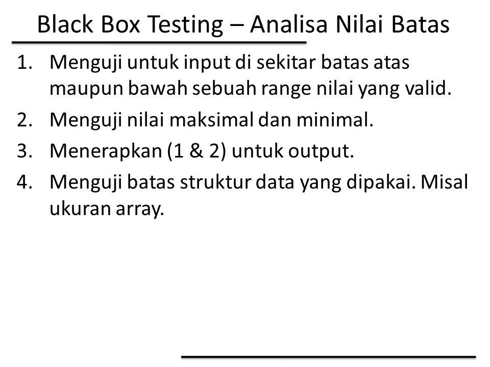 Black Box Testing – Analisa Nilai Batas 1.Menguji untuk input di sekitar batas atas maupun bawah sebuah range nilai yang valid. 2.Menguji nilai maksim