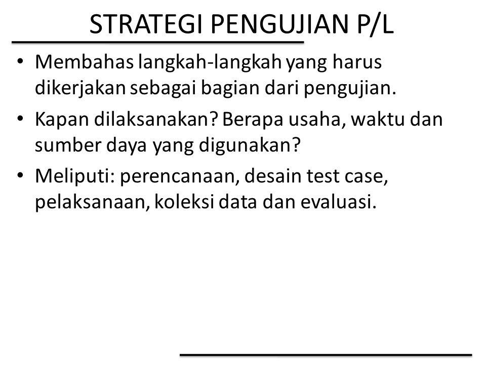 STRATEGI PENGUJIAN P/L Membahas langkah-langkah yang harus dikerjakan sebagai bagian dari pengujian. Kapan dilaksanakan? Berapa usaha, waktu dan sumbe