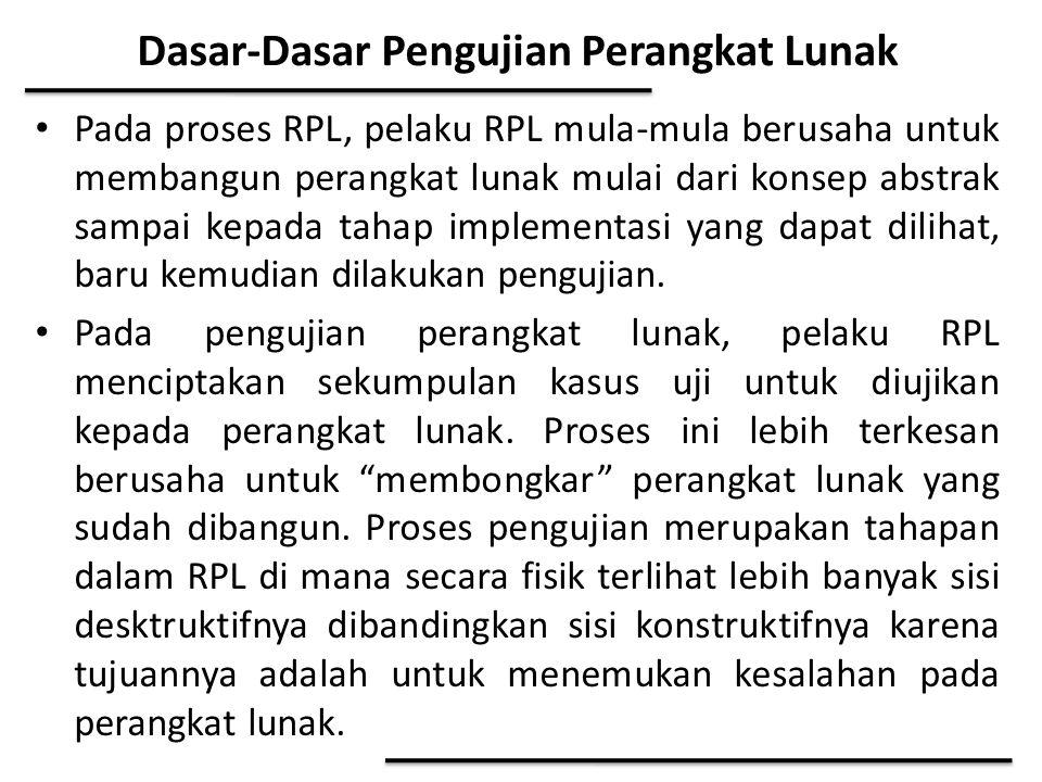 Dasar-Dasar Pengujian Perangkat Lunak Pada proses RPL, pelaku RPL mula-mula berusaha untuk membangun perangkat lunak mulai dari konsep abstrak sampai
