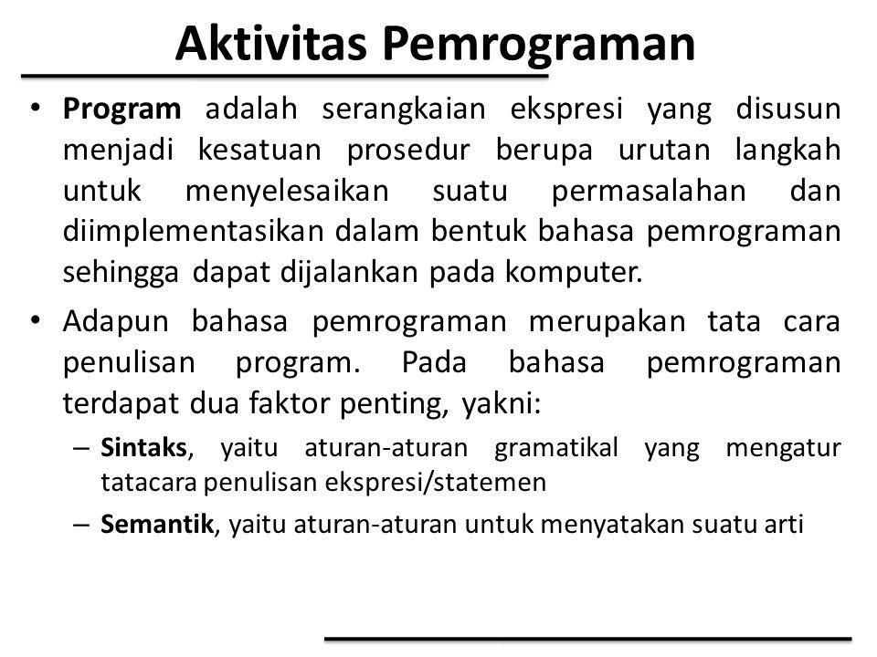 Aktivitas Pemrograman Program adalah serangkaian ekspresi yang disusun menjadi kesatuan prosedur berupa urutan langkah untuk menyelesaikan suatu perma