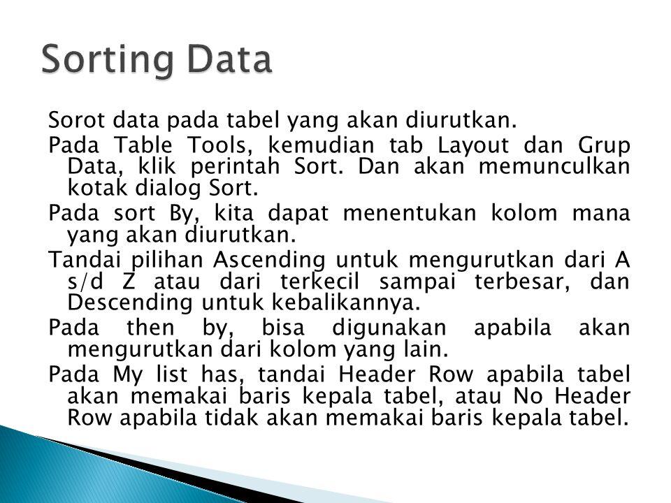 Sorot data pada tabel yang akan diurutkan. Pada Table Tools, kemudian tab Layout dan Grup Data, klik perintah Sort. Dan akan memunculkan kotak dialog