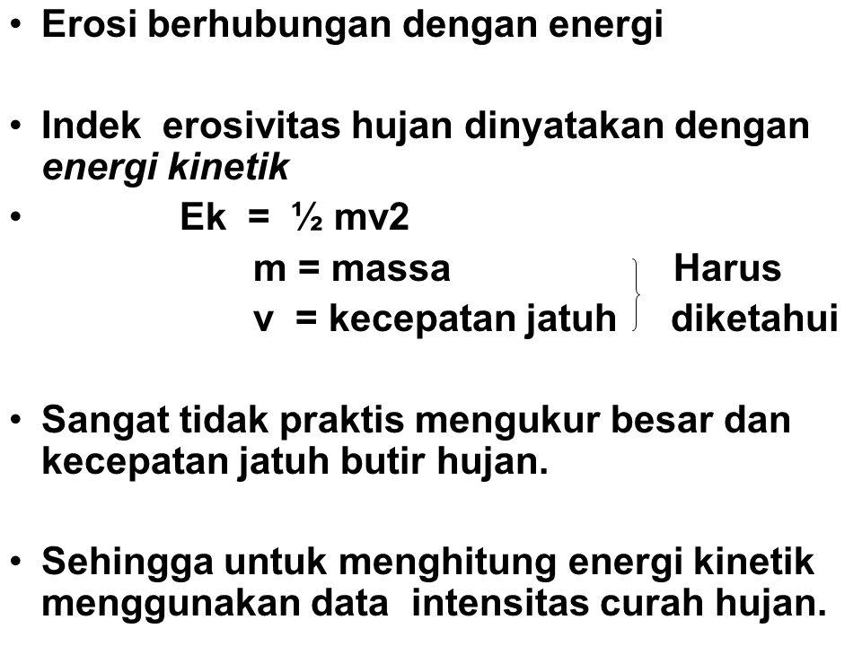 Erosi berhubungan dengan energi Indek erosivitas hujan dinyatakan dengan energi kinetik Ek = ½ mv2 m = massa Harus v = kecepatan jatuh diketahui Sanga