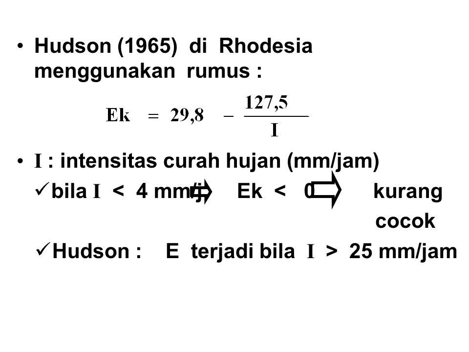 Hudson (1965) di Rhodesia menggunakan rumus : I : intensitas curah hujan (mm/jam) bila I < 4 mm/j Ek < 0 kurang cocok Hudson : E terjadi bila I > 25 m