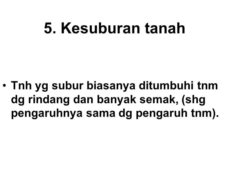 5. Kesuburan tanah Tnh yg subur biasanya ditumbuhi tnm dg rindang dan banyak semak, (shg pengaruhnya sama dg pengaruh tnm).