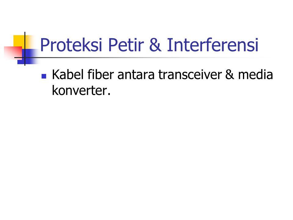 Proteksi Petir & Interferensi Kabel fiber antara transceiver & media konverter.