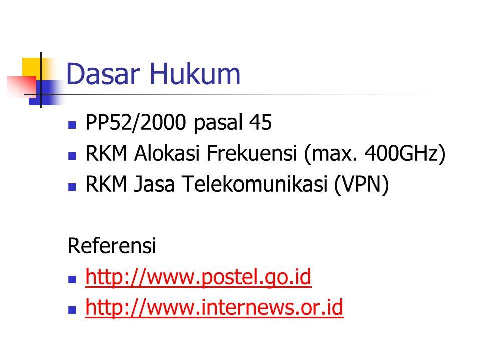 Dasar Hukum PP52/2000 pasal 45 RKM Alokasi Frekuensi (max. 400GHz) RKM Jasa Telekomunikasi (VPN) Referensi http://www.postel.go.id http://www.internew