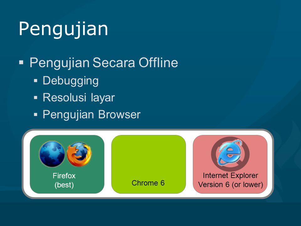 Pengujian  Pengujian secara online  Koneksi test melalui 3 jenis ISP  Biznet (203.142.76.133, Pancoran Depok)  Telkom(222.124.185.169, Gunadarma Depok)  IINET Limited(124.171.38.171, Sydney Australia)  Pengujian hyperlink/bugging  Penujian tampilan browser (mozzila,opera,chrome) http://pelabuhan.kakatomi.com