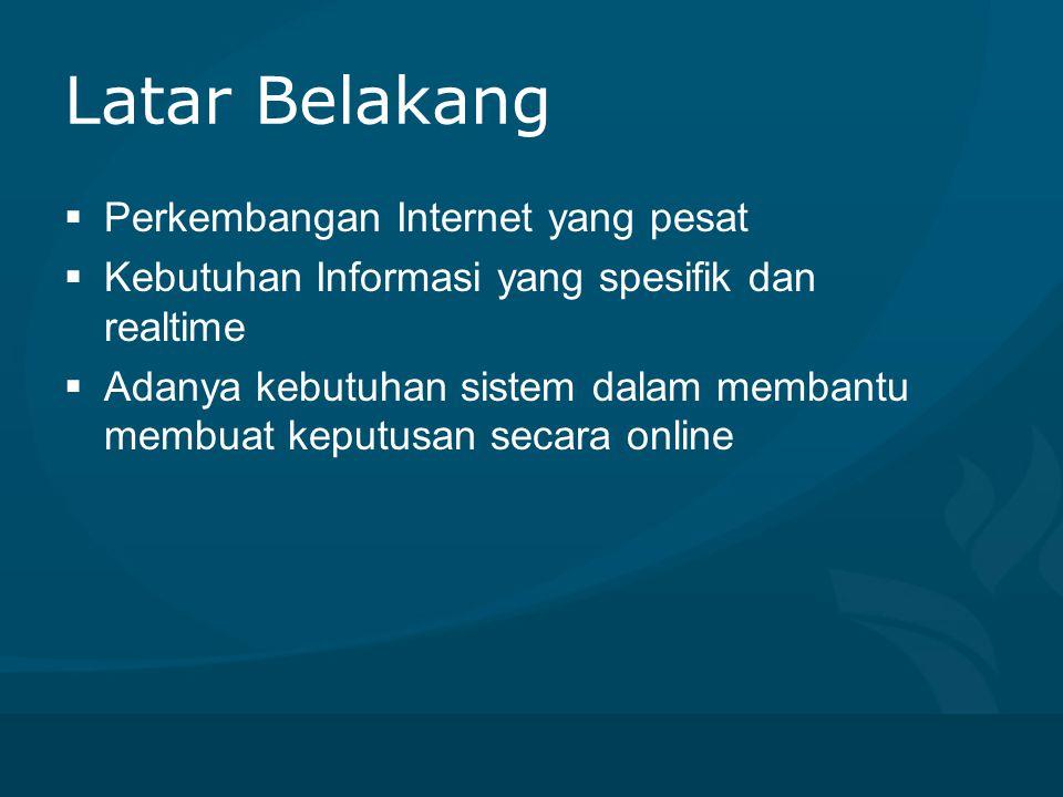 Latar Belakang  Perkembangan Internet yang pesat  Kebutuhan Informasi yang spesifik dan realtime  Adanya kebutuhan sistem dalam membantu membuat ke