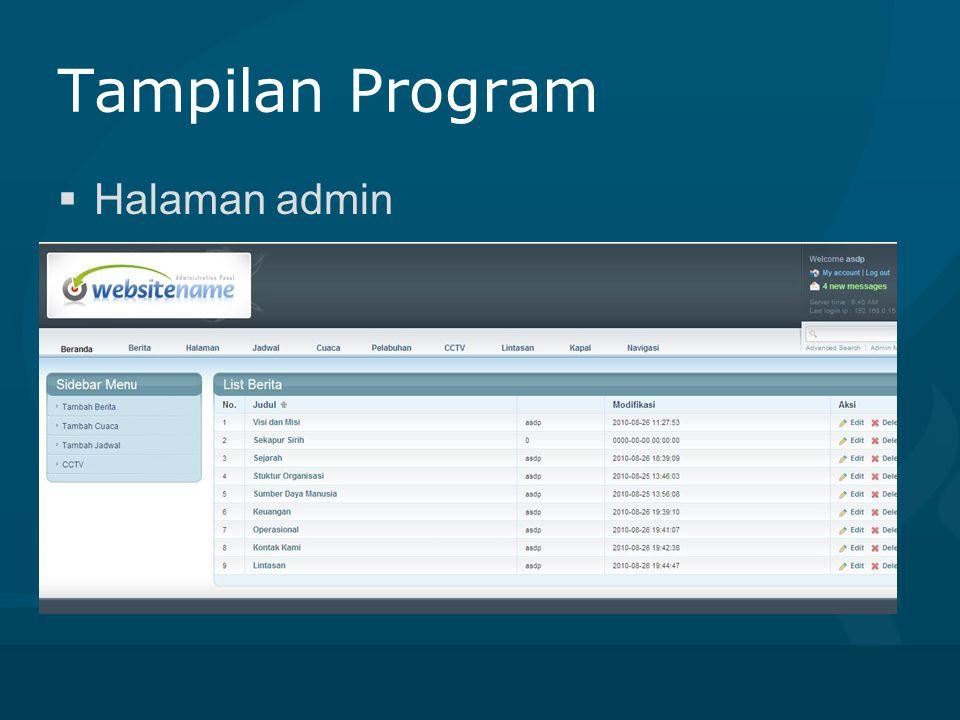 Tampilan Program  Halaman admin