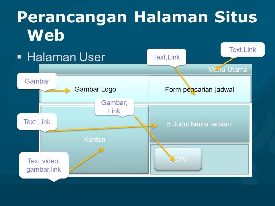 Perancangan Halaman Situs Web  Halaman User Menu Utama Gambar Logo Form pencarian jadwal Konten 5 Judul berita terbaru CCTV Text,Link Gambar Text,Lin