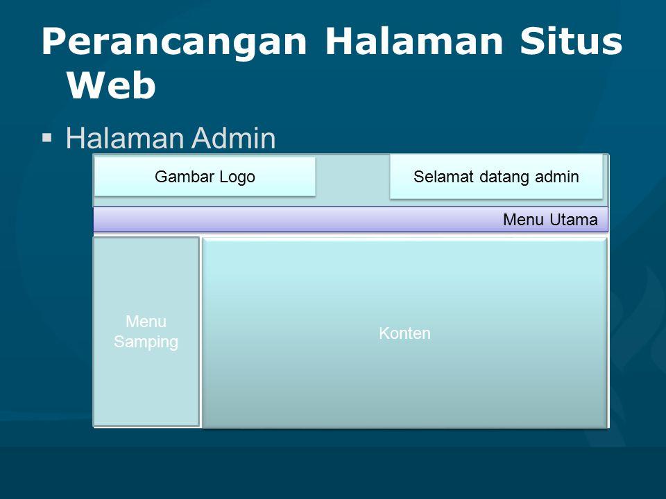 Perancangan Halaman Situs Web  Halaman Admin Gambar Logo Selamat datang admin Konten Menu Samping Menu Utama