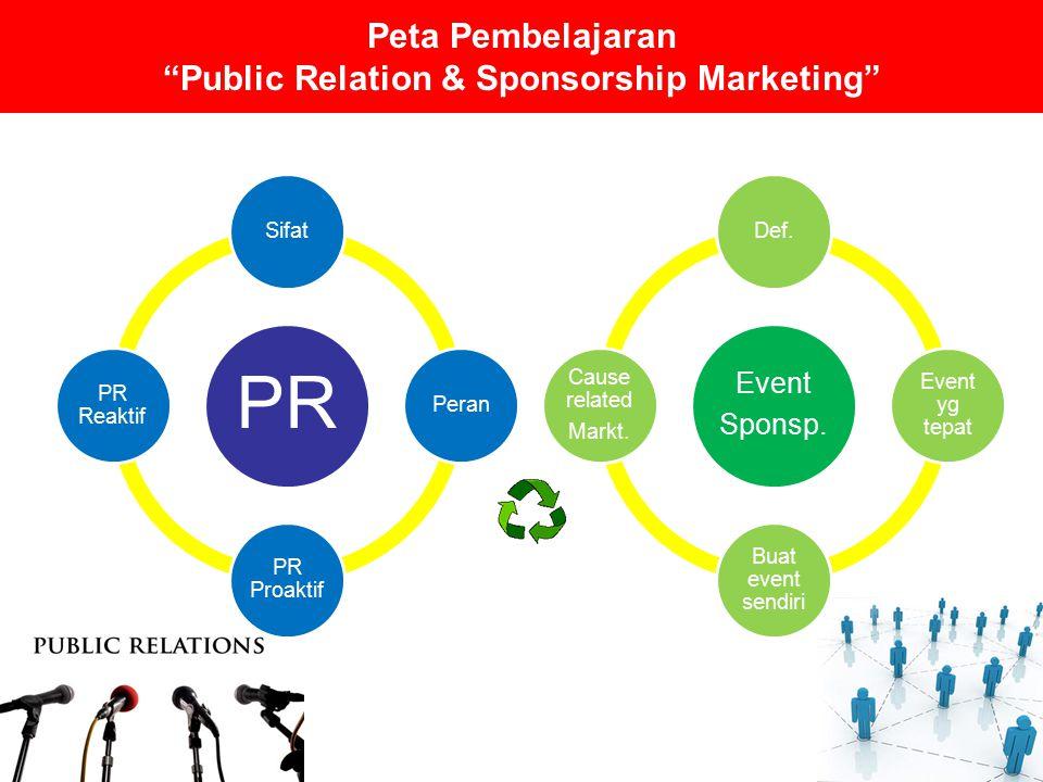 Kompetensi Dasar Memahami sifat dan peran marketing public relation Membedakan antara MPR proaktif dan reaktif Memahami jenis-jenis rumor komersial dan bagaimana mengendalikannya Menjelaskan even sponsorship dan bagaimana memilih even yang tepat
