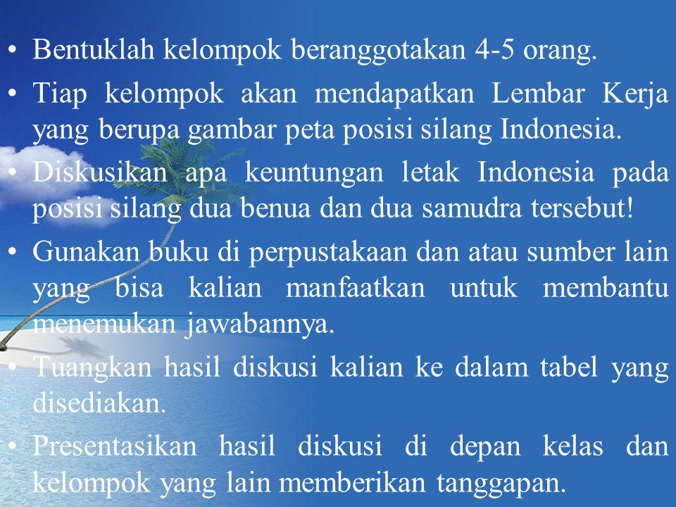 Bentuklah kelompok beranggotakan 4-5 orang. Tiap kelompok akan mendapatkan Lembar Kerja yang berupa gambar peta posisi silang Indonesia. Diskusikan ap