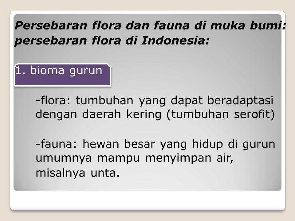 Persebaran flora dan fauna di muka bumi: persebaran flora di Indonesia: 1. bioma gurun -flora: tumbuhan yang dapat beradaptasi dengan daerah kering (t