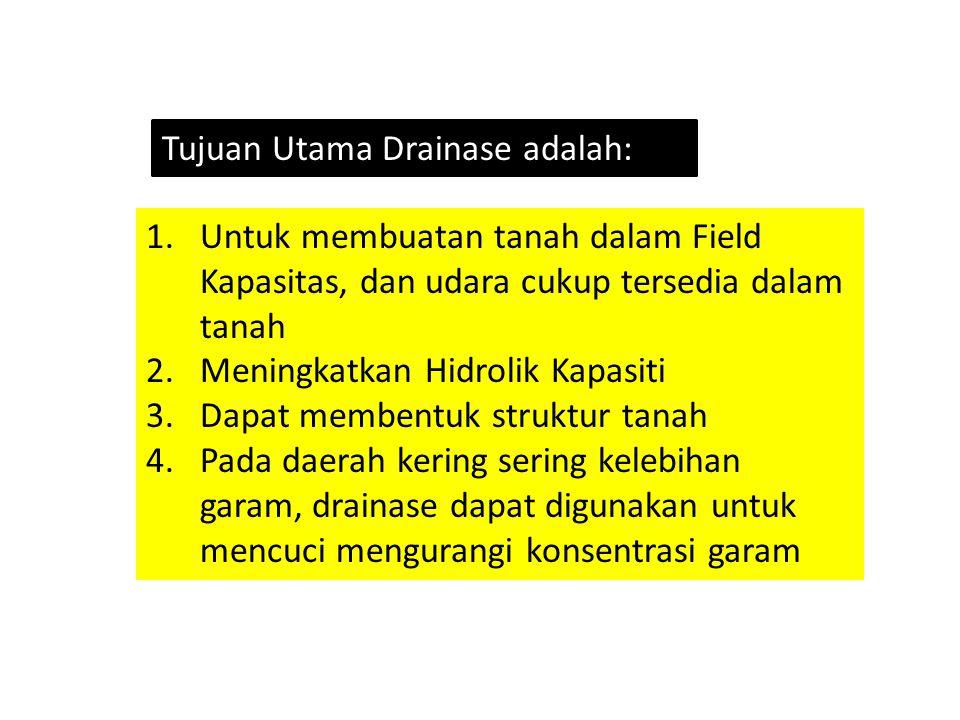Tujuan Utama Drainase adalah: 1.Untuk membuatan tanah dalam Field Kapasitas, dan udara cukup tersedia dalam tanah 2.Meningkatkan Hidrolik Kapasiti 3.D