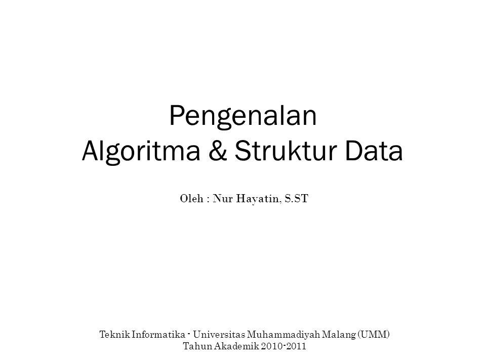 Pengenalan Algoritma & Struktur Data Teknik Informatika - Universitas Muhammadiyah Malang (UMM) Tahun Akademik 2010-2011 Oleh : Nur Hayatin, S.ST