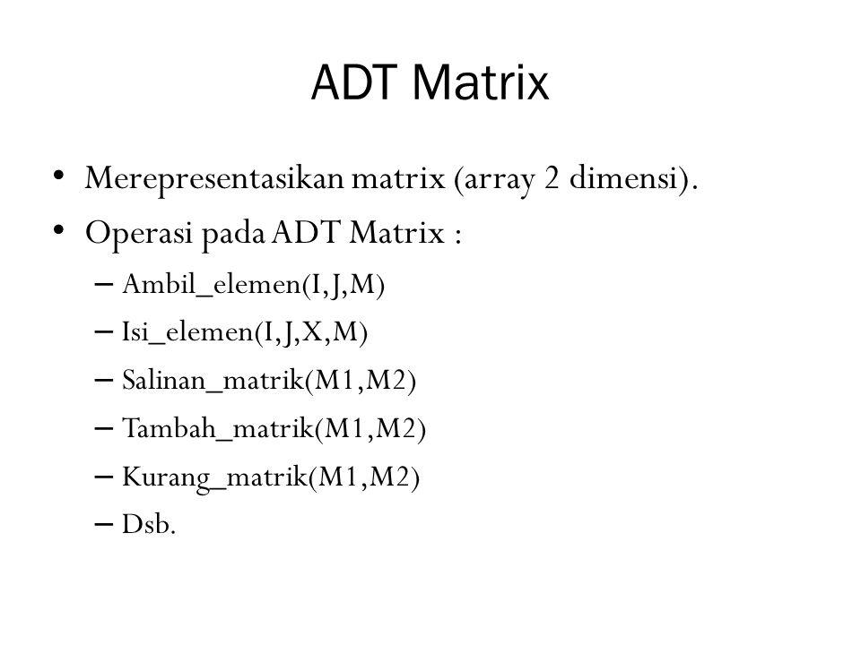 ADT Matrix Merepresentasikan matrix (array 2 dimensi). Operasi pada ADT Matrix : – Ambil_elemen(I,J,M) – Isi_elemen(I,J,X,M) – Salinan_matrik(M1,M2) –
