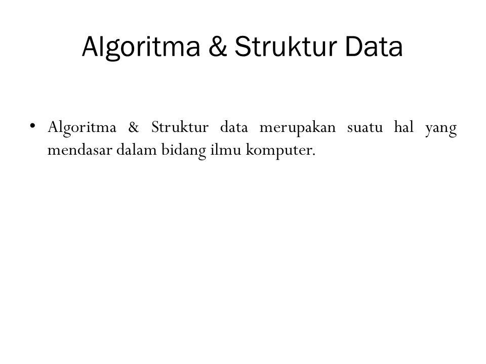 Algoritma & Struktur Data Algoritma & Struktur data merupakan suatu hal yang mendasar dalam bidang ilmu komputer.