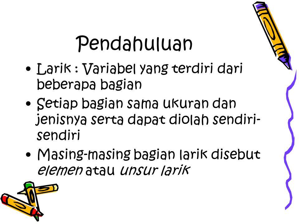 Larik Sebagai Tabel Referrensi gajiTotal := gajiPokok + tunjanganIstri + tunjanganAnak pajak := pp[golongan]*gajiTotal gajiBersih := gajiTotal – pajak write (tunjanganIstri) write (pajak)