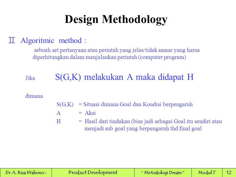 Design Methodology `Algoritmic method : sebuah set pertanyaan atau perintah yang jelas/tidak samar yang harus diperhitungkan dalam menjalankan perinta
