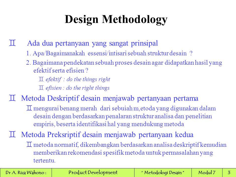 Design Methodology ` TUJUAN Metodologi desain `Menyediakan tools/perangkat konsep untuk seoarang desainer dalam mengorganisasi proses desain secara efektif dan efisien `Perangkat Konsep yang tersedia : `Model dari sebuah struktur desain dan pengembangannya `'Metodik' kumpulan hukum dan metode untuk aplikasi langsung pada proses desain `Konsep : sistim dari konsep atau terminologi yang merupakan by-product (produk olahan) dari metodologi desain, diperlukan agar mudah dalam membuat referensi, dalam pemikiran, dan pembelajaran sebuah proses desain, dan juga digunakan untuk komunikasi positif antara berbagai pakar dalam pengembangan produk.