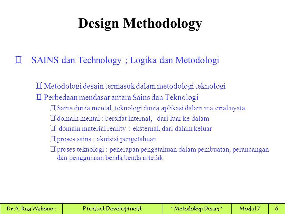 Design Methodology Metodologi Teknologi Metodologi Sains Action Akuisisi Pengetahuan Reasoning (Penalaran) Transformasi Materi Alam Fikir Alam Materi Product Development Dr A.