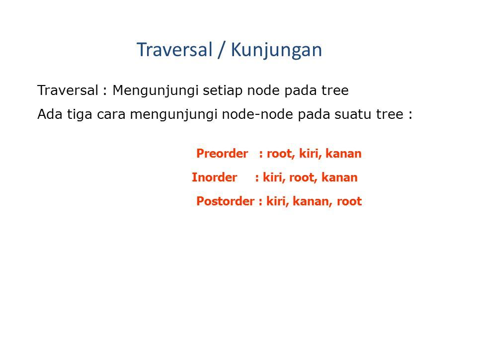 Traversal / Kunjungan Traversal : Mengunjungi setiap node pada tree Ada tiga cara mengunjungi node-node pada suatu tree : Preorder : root, kiri, kanan Inorder : kiri, root, kanan Postorder : kiri, kanan, root