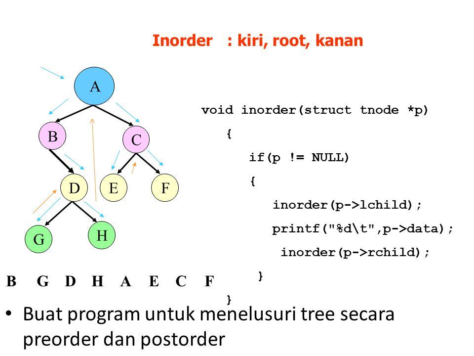 A B D C EF G H Inorder : kiri, root, kanan BGDHAECF void inorder(struct tnode *p) { if(p != NULL) { inorder(p->lchild); printf( %d\t ,p->data); inorder(p->rchild); } Buat program untuk menelusuri tree secara preorder dan postorder