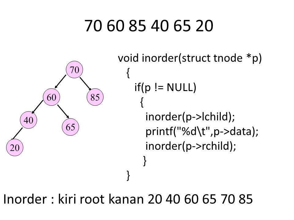 70 60 85 40 65 20 70 6085 40 65 20 Inorder : kiri root kanan 20 40 60 65 70 85 void inorder(struct tnode *p) { if(p != NULL) { inorder(p->lchild); printf( %d\t ,p->data); inorder(p->rchild); }