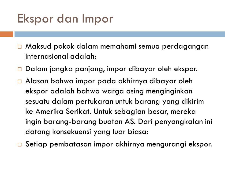 Ekspor dan Impor  Maksud pokok dalam memahami semua perdagangan internasional adalah:  Dalam jangka panjang, impor dibayar oleh ekspor.  Alasan bah