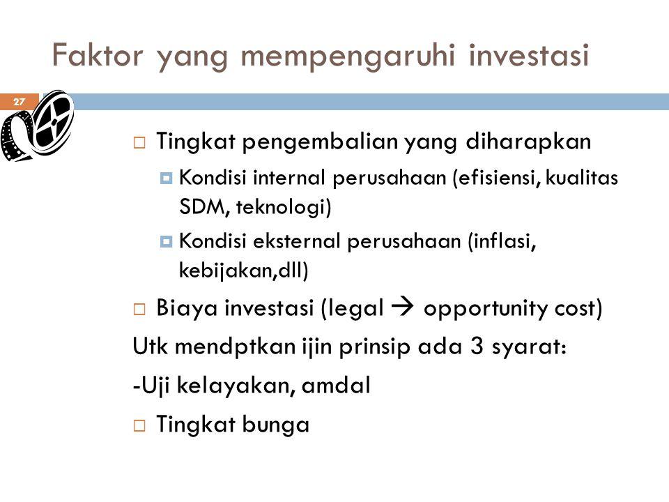Faktor yang mempengaruhi investasi 27  Tingkat pengembalian yang diharapkan  Kondisi internal perusahaan (efisiensi, kualitas SDM, teknologi)  Kondisi eksternal perusahaan (inflasi, kebijakan,dll)  Biaya investasi (legal  opportunity cost) Utk mendptkan ijin prinsip ada 3 syarat: -Uji kelayakan, amdal  Tingkat bunga