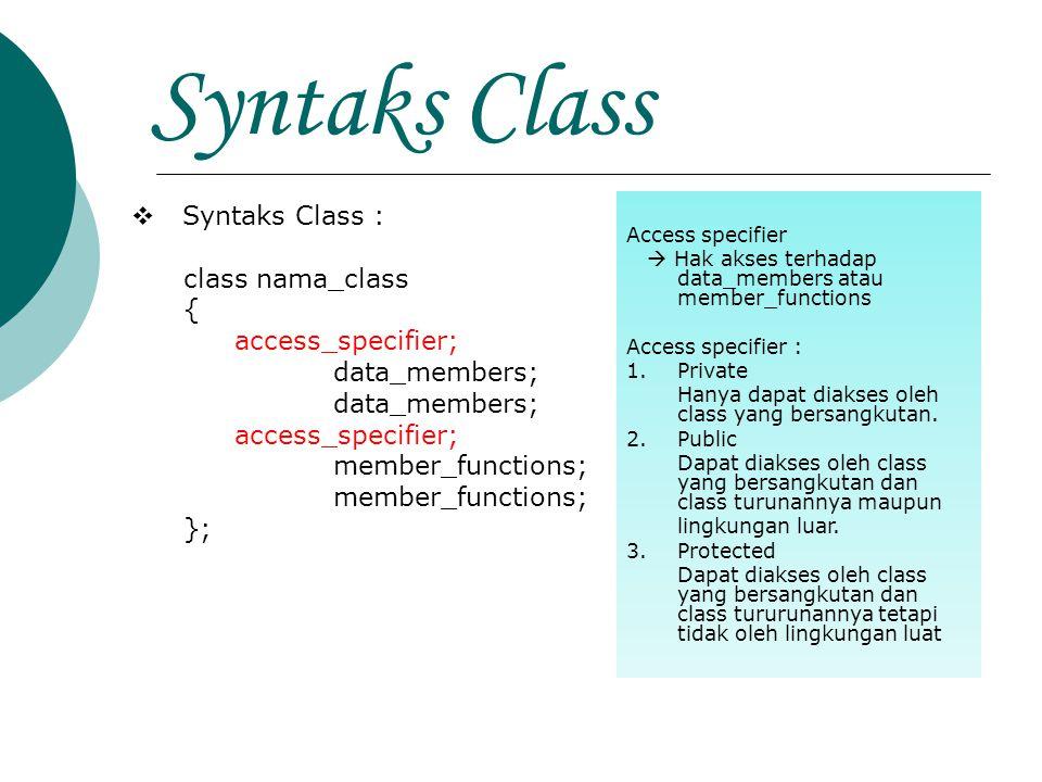 SyntaksClass  Syntaks Class : class nama_class { access_specifier; data_members; access_specifier; member_functions; }; Access specifier  Hak akses