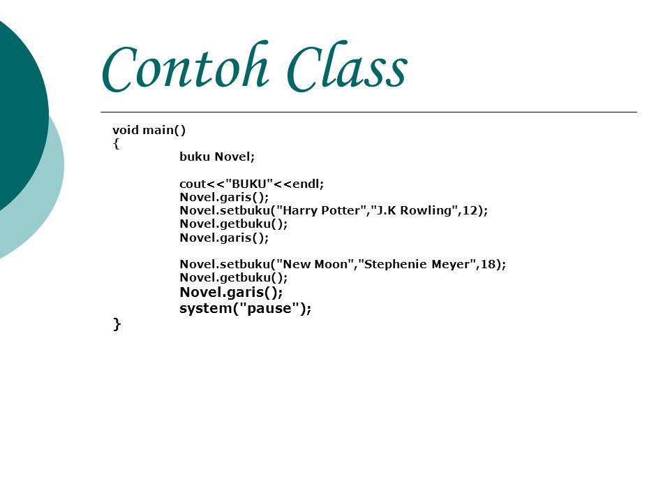 Contoh Class void main() { buku Novel; cout<<