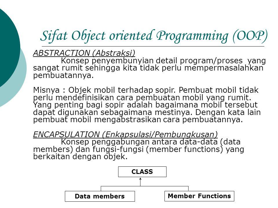 Sifat Object oriented Programming (OOP) ABSTRACTION (Abstraksi) Konsep penyembunyian detail program/proses yang sangat rumit sehingga kita tidak perlu