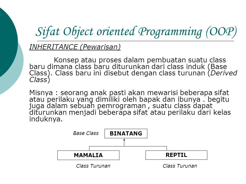 Sifat Object oriented Programming (OOP) INHERITANCE (Pewarisan) Konsep atau proses dalam pembuatan suatu class baru dimana class baru diturunkan dari